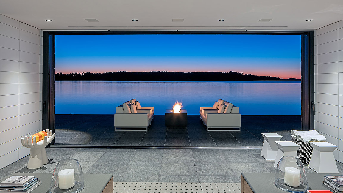 open seating area in front of lake